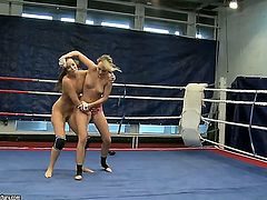 Classy Blue Angel and Debbie White wrestling