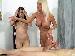 Kasey Storm and Christina Heart are daughter and mom both with sexy big tits. Young brunette and blond milf gets naked and show their big jugs to lucky boy before thee give headjob together.