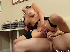 Luscious girl Veronica Avluv is riding hard stick like crazy
