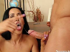 He dives between her buns and tickles her anal ring and pussy with his playful tongue. After she kneels and give shim best ever blowjob. Enjoy her big juicy boobs and hell working cherry lips.