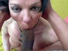 Good looking black haired amateur milf with natural tits and arousing make up gets her shaved minge fisted to intensive orgasm by her younger dark skinned lover in living room