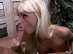Magnificent blonde secretary Erica Fontes is being called by her boss because he feel like fucking her today with his huge dick, so she comes and starts sucking his dick very hard.