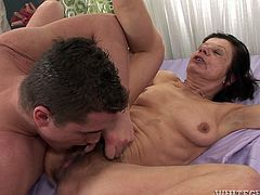 Ugly mature bitch knows the meaning of hardcore. She spread her legs wide open to get her hairy pussy licked and after that fucked hard with a big cock.