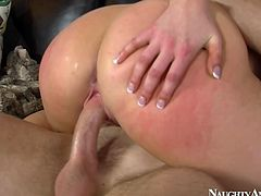 Incredibly hot and sexy blond head with nice butt is a great lover. She's fond of being banged from behind. But the thing this hooker loves the most is surely riding a cock on the couch.
