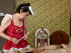 Laura is a horn granny that loves to play and to fuck! Young guy is like a hard dicked devil who make sher dirt sex fantasies a reality. He bangs her mature pussy hard and deep. Watch them fuck!