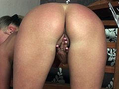 Spoiled Russian hoe strips on stairs demonstrating small round tits and bald twat, which she later rubs with her fingers in steamy solo sex video by Twistys.