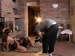 College lesbians Cindy Dollar and Silvia Saint wanna lick