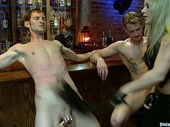 This is a night at the bar none of these two guys will forget. It's not every night you meet a crazy BDSM bitch who makes you suffer so damn much.