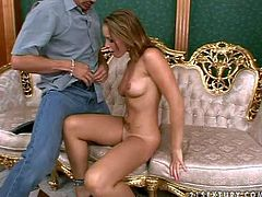 Arousing smoking hot tanned young brunette Kathia Nobili with sexy tattoo on belly and nice natural boobs gets fingered to loud orgasm by bald dude and gives him lusty deep throat