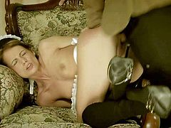 Sophie Lynx is one obedient maid in sexy uniform gets her face fucked and humiliated. She licks the floor clean and then gets her asshole fingered and her juicy pussy dicked from behind.