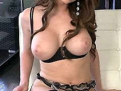 Busty babe Emily Addison showing off her big boobs and feeling horny is masturbating her wild pussy because there are no boys around to satisfy her lusty desires at the moment.