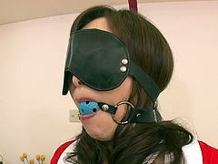 Blindfolded Japanese babe Miyama Ranko is right between two horny guys. She gets her hairy pussy stimulated with different sex toys.