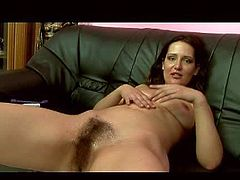 Cheep amateur brunette Andie with natural tits in high heels only spreads legs and gets her hairy minge drilled rough with big power toll by slender sexy bitch in underwear