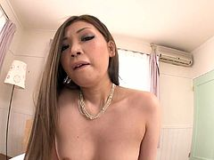 Mesmerizing Japanese babe in steamy fishnet stockings gives a hard ride to a mini weenie in cowgirl style after a zealous oral fuck.