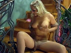 Awesome blonde toys near hosiery and has pumped by the pantyhose addicted bloke