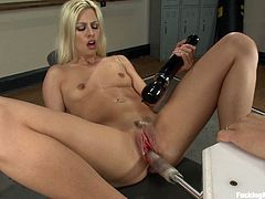 Get a load of this blonde's amazing ass in this fucking machines scene where her pink pussy's nailed by various mechanical lovers.