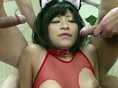 Kinky grey-haired daddy eats a soaking shaved twat of tasty looking Japanese harlow through a hole in her one-piece lingerie before she kneels down in front of two aroused dudes for double blowjob in sizzling hot threesome sex video by Jav HD.