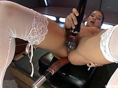Watch this sexy babe riding a Sybian before having her tight cunt drilled by another larger machines in this hot clip.