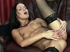 Lauryn May is a passionate brunette with nice tits and seductive body! She masturbates her smooth pussy with her soft fingers and groans with pleasure! Damn, that pussy is so fucking hot!