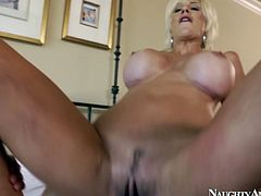 Slim and fit babe Puma Swede bounces on a solid prick