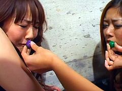 Crazy And Horny Lesbians Sakura, Azusa And Rico Have Some Wicked Anal Fun With Sweets And Sex Toys.