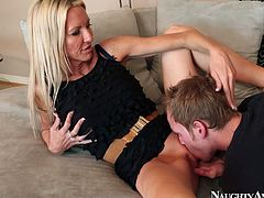Torrid and sexy blond head wears tight black dress and looks just gorgeous. Hot chick with nice tits stretches legs wide and wanna get her wet pussy licked right on the couch for gaining dozen of pleasure at once.