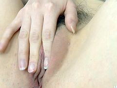 Incredibly hot and seductive chestnut Japanese gal wears white stockings and hot stuff. Wondrous girlie desires to gain her portion of pleasure. So horn-mad wanker starts tickling her wet pussy for reaching multiple orgasm on her own.