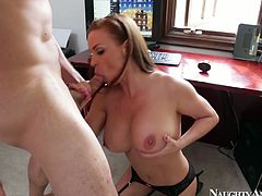Attractive girl with big natural tits enjoys her wet tasty cooch polished by handsome solid built stud. Then she squats down to give him deepthroat blowjob.
