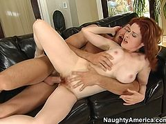 Dirty redhead bitch Mae Victoria is rammed bad from behind