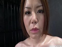 Dirty-minded brunette from Japan is mad about being pleased. Wearing leather stuff whorable chick with sweet tits gets her hairy cunt stimulated with electric vibrator and repays with sucking the cocks for sperm.