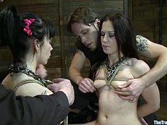 Stunning chicks give a blowjob to their Master standing on their knees. After that they get tied up. They also lick each others necks and get fucked from behind.