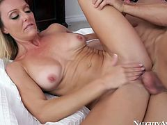 Brenda James is skilled porn performer who is good in hardcore action. She is getting rammed in her cunt from behind groaning seductively.