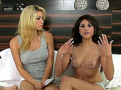 Topless babe Heather Vandeven gets interviewed by cute blonde girl with perky tits. They are both looking so amazing. May be they should work something out together.