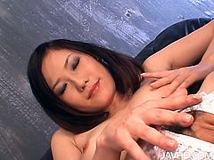 Well this Japanese nympho with small pale tits is a bit weird about sex and food. She squashes banana, pour some mango juice on her wet hairy pussy while being in a cell and desires to make the dude lick all this including her lady cum.