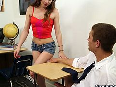 College student Lexi Belle is too dumb for learning. Her daddy does his best to help her, but she doesn't care. He would never imagine what her daughter is doing during her lessons. She's fucking with her group mate!