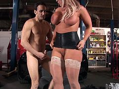 Busty blonde whore gets her tight pussy fucked hard by her mechanic