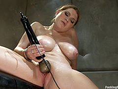 Phallic Machine Takes Busty Girl to Pussy Heaven