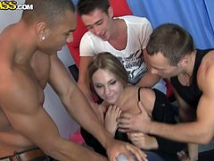 Three aroused dudes and a sextractive Russian chic play cards until they starts taking off her clothes. Remaining in steamy black corset and fishnet stockings, she gets pounded into her spoiled pussy and mouth in steamy 4some sex clip by WTF Pass.