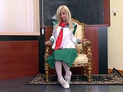 Blonde beauty in school uniform takes two tools for a ride and they both give the the ride of her pretty little life.