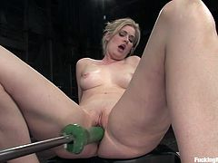 Watch this sexy blonde having the time of her life in this hot clip where she's fucked by a machine as you can see for yourself.