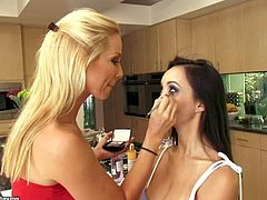 Attractive blonde Sandy with perfectly shaped ass and long haired asian goddess Katsuni with firm hooters gets naked and naughty while posing at memorable photo shoot on a sunny day