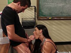 The lesson is over. Slutty tanned brunette gets rid of blouse, plays with her boobs and kneels down for sucking a cock. Cum addicted seductive teacher, whose wet cunt needs to be licked and tickles, is worth checking out in Naughty America sex clip for sure.
