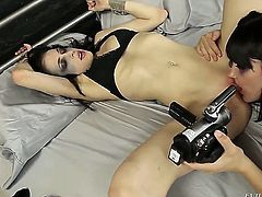 If you didnt know, Bobbi Starr is into licking tight nasty cunts and using her tongue to make other girls cum real hard. Thats what she is doing in this video.