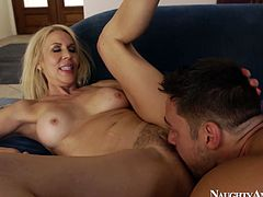 Cum addicted pale blondie with big boobs loves being fed with cum. Poking from behind is a kind of warming up for voracious dick sucker. This bitch with nice butt is surely worth checking out in incredibly hot Naughty America sex clip.
