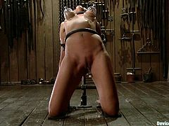 This honey loves some good pain. She gets tied in one setup and then in the other one. Both of the positions makes her pussy wide open for some torturing games.