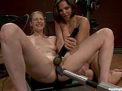 This sexy lesbians will depict the benefits of pussy licking combined with sex machines. It can't get better than this! Waste no time and click the play button.