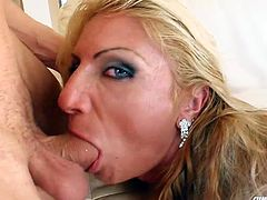 Watch as this sexy ass blonde bitch gets her beautiful face completely covered in slimy white cum. By the time the scene ends you will hardly recognize her!
