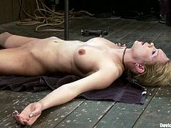 Lustful blonde Rain DeGrey is having fun with two men in a basement. She gets tied and hang up and enjoys a dildo in her cunt and weights on her boobs.