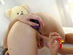 Chastity Lynn and Kiera King are tow sweet lesbian kitties that play with each others shaved pussies and tight assholes eagerly. Blonde dildos brunettes asshole after pussy fun.