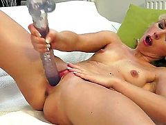 Sexy sensational blonde babe decides to have all the fun solo as she inserts dildo